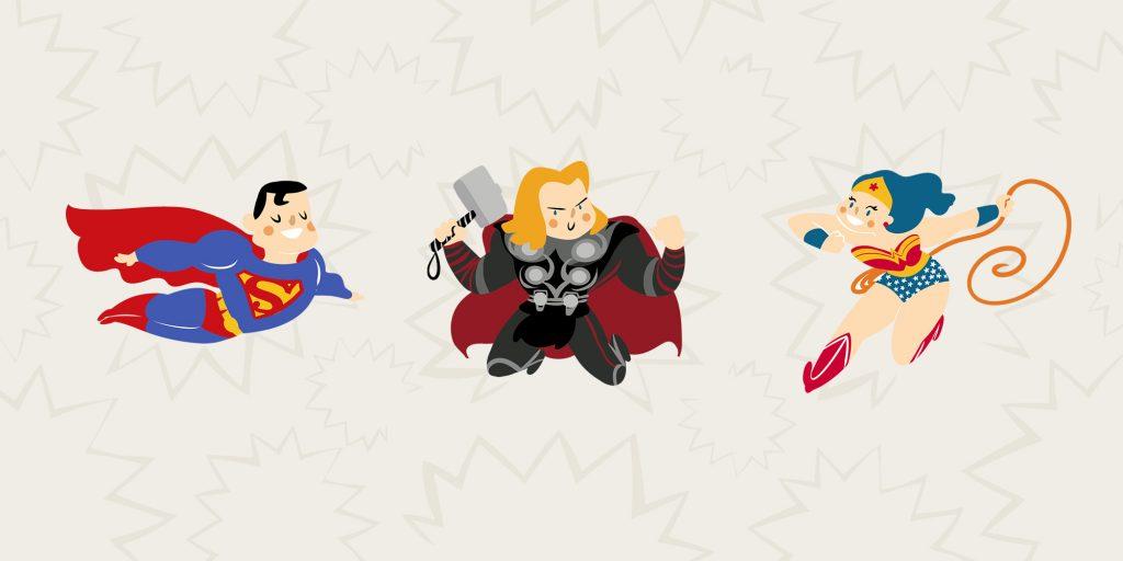 superhéroes comen jamón ibérico